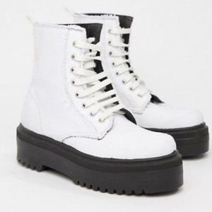 ASOS DESIGN ATTITUDE CHUNKY CANVAS LACE UP BOOTS